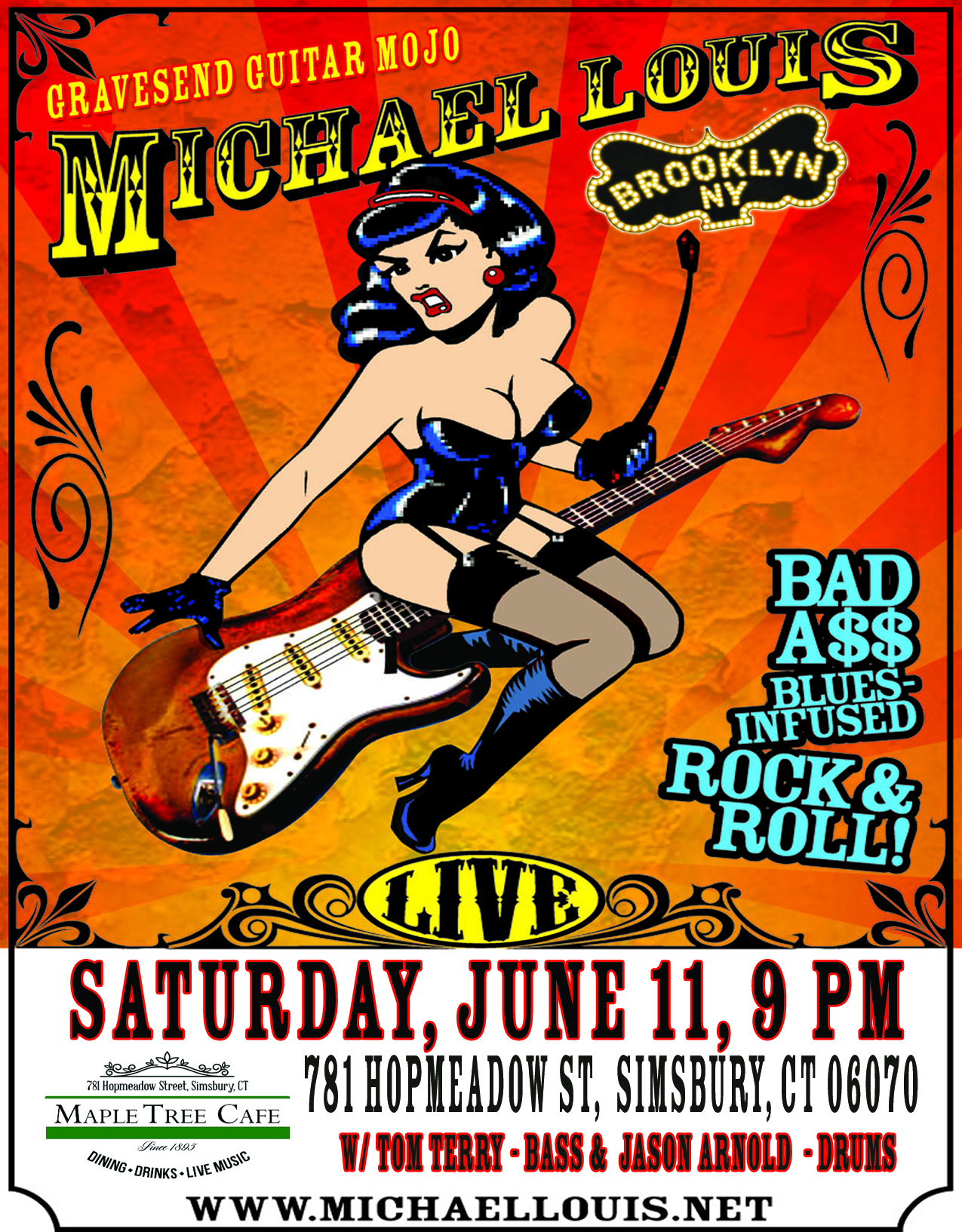 TMLB GIRL ON GUITAR BAD A$$ BROOKLYN NY LOGO GRAVESEND GUITAR MOJO MAPLE TREE CAFE VENUE WEBSITE POSTER 6.11.16 8.5 X 11 JPEG